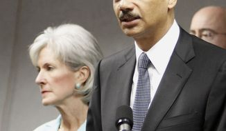 Attorney General Eric H. Holder Jr., right, announces 36 arrests in Medicare scams during a press conference as Health and Human Services Secretary Kathleen Sebelius looks on in Miami, Friday, July 16, 2010. Federal authorities said they are conducting the largest Medicare fraud bust ever in five different states and arrested dozens of suspects accused in scams totaling $251 million. (AP Photo/Alan Diaz)