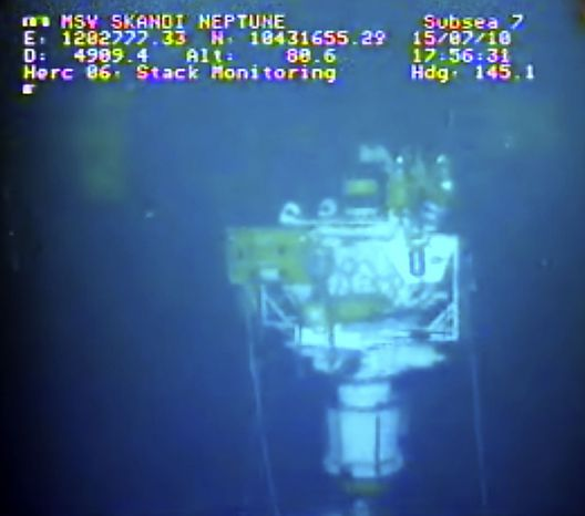 This image taken from video provided by BP PLC at 17:56 CDT shows that oil has stopped flowing from the new 75-ton cap atop the site of the Deepwater Horizon oil spill in the Gulf of Mexico Thursday, July 15, 2010. BP finally choked off the flow of oil into the Gulf of Mexico on Thursday -- 85 days and up to 184 million gallons after the crisis unfolded -- then began a tense 48 hours of watching to see whether the capped-off well would hold or blow a new leak. Engineers will monitor pressure gauges and watch for signs of leaks elsewhere in the well. (AP Photo/BP PLC)