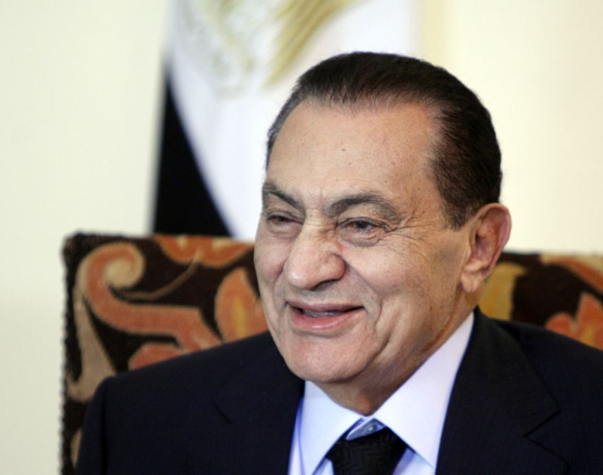 ASSOCIATED PRESS Egyptian President Hosni Mubarak looks on during a meeting at the Presidential palace in Cairo, Egypt, Tuesday, July 6, 2010.