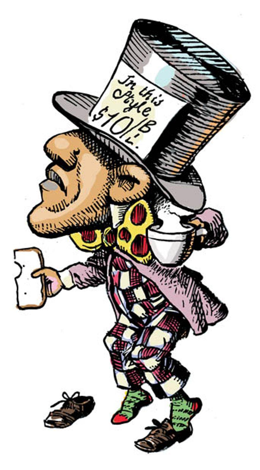 Illustration: Mad Hatter (after John Tenniel) by Alexander Hunter for The Washington Times