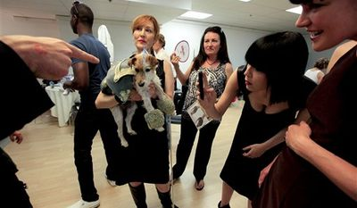 """Andy Steloff, center holds a dog, Miss Darcy, wearing an outfit resembling the designer Alexander McQueen, while waiting backstage prior to taking part in the """"Patterns for Paws"""" charity dog fashion show, benefiting The Amanda Foundation, at the Pacific Design Center in West Hollywood, Calif. on Thursday July 15, 2010. (AP Photo/Richard Vogel)"""