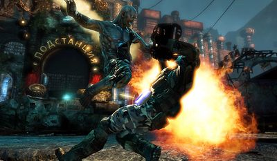 Special Forces Capt. Nathaniel Renko watches a fiery battle with a mutant in Activision's first person shooter Singularity.