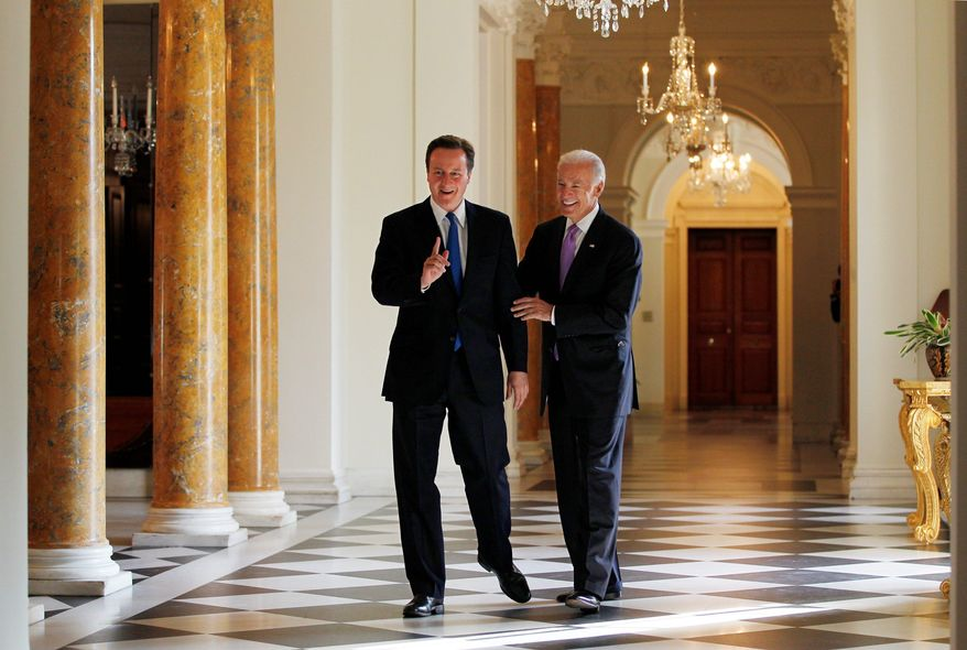 """ASSOCIATED PRESS British Prime Minister David Cameron hosted a breakfast meeting with Vice President Joseph R. Biden Jr. at the British Embassy in Washington on Tuesday. """"The oil spill in the Gulf of Mexico is a catastrophe for the environment, for the fishing industry, for tourism. I've been absolutely clear about that,"""" Mr. Cameron said."""