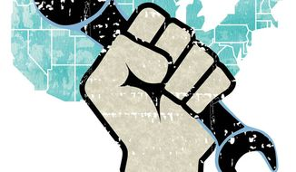 Illustration: Labor fist by Greg Groesch for The Washington Times