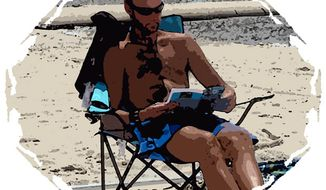 Illustration: Beach reading by Greg Groesch for The Washington Times