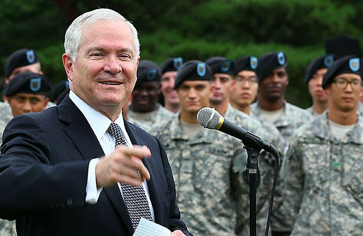 U.S. Secretary of Defense Robert Gates speaks to troops during a stop at Camp Casey on July 20, 2010 in Seoul, South Korea. Mr. Gates, who will join Secretary of State Hillary Clinton in talks with South Korean Foreign Minister Yu Myung-hwan and Gates' counterpart Kim Tae-young, greeted troops from the 1st Heavy Brigade and the 210 Fires Brigade. (AP Photo/Mark Wilson, pool)