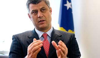 **FILE** Kosovo Prime Minister Hashim Thaci (Associated Press)
