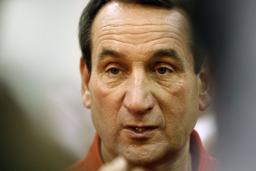 ASSOCIATED PRESS United States men's basketball coach Mike Krzyzewski talks with members of the media during a USA Basketball men's national team practice, Tuesday, July 20, 2010, in Las Vegas.