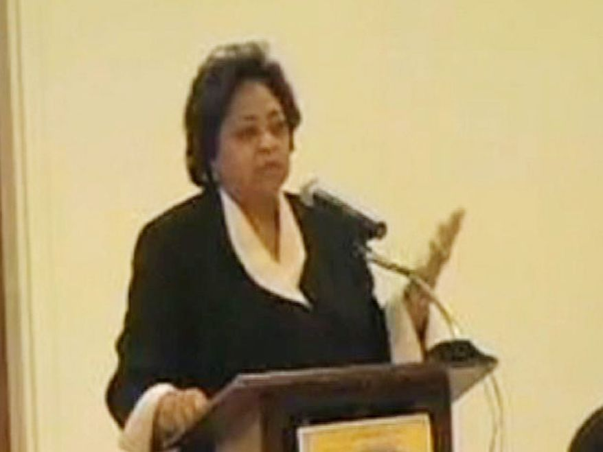 ** FILE ** In this image from video provided by the NAACP, Shirley Sherrod is shown speaking in March 2010 at a local NAACP banquet in Georgia. A conservative website posted video of Mrs. Sherrod's remarks, causing a furor that led to her condemnation by the NAACP and her ouster by Agriculture Secretary Tom Vilsack. Until Tuesday, she was the Agriculture Department's director of rural development in Georgia. Then, she said, she was pressured by superiors to resign. (AP Photo/NAACP, ho)