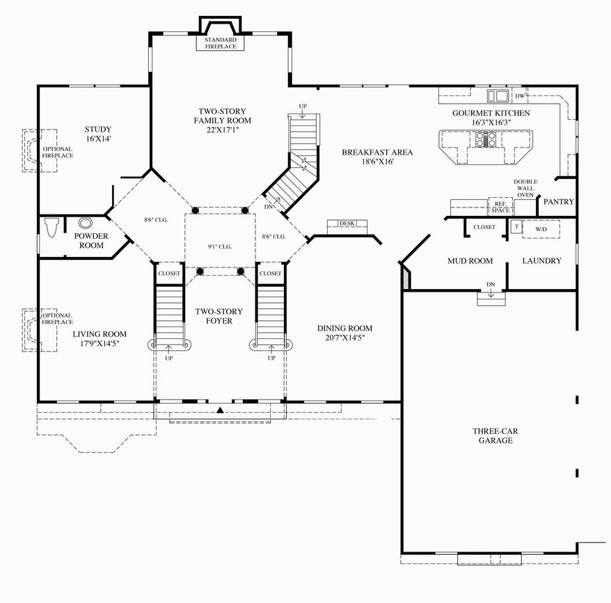 The Hampton model includes more than 4,700 finished square feet with a two-story family room, a formal dining room, a study, a breakfast area off the center-island kitchen and a formal living room on the first level.