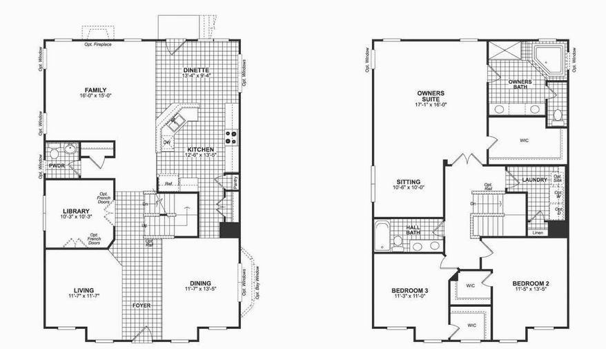 The Dixon model includes a library, a center-island kitchen with a breakfast area, a family room, and formal living and dining rooms on the main level. Upstairs are the master bedroom with a sitting area, luxury bath and walk-in closet; two additional bedrooms share a hall bath.