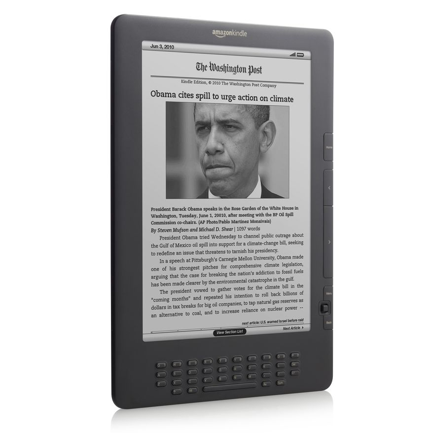 In this product image provided by Amazon.com Inc., the newest version of the Kindle DX is shown. The online retailer on Thursday, July 1, 2010 said it is introducing the new version of its higher-end Kindle at a lower price as competition among electronic-book readers intensifies. (AP Photo/Amazon.com Inc.)