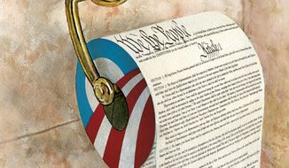 Illustration: Obama's Constitution by Alexander Hunter for The Washington Times