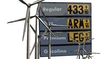 Illustration: Solar gas by Greg Groesch for The Washington Times