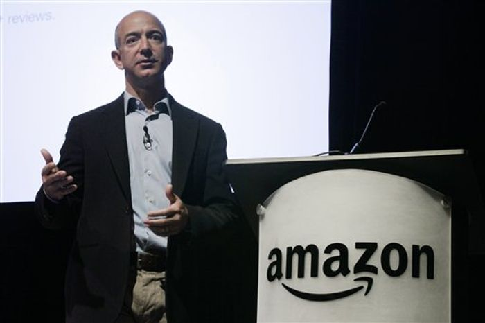 FILE - In this file photo made May 25, 2010, Amazon.com Inc. CEO and founder Jeff Bezos speaks during the company's shareholders meeting in Seattle. Amazon.com Inc. said Thursday, July 22, 2010, that its second-quarter income jumped, bolstered by shoppers who spent more with the online retailer even as consumer confidence fell overall. (AP Photo/Ted S. Warren, File)