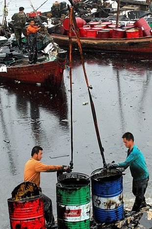In this photo taken Wednesday, July 21, 2010, workers clean and collect crude oil near a polluted beach after a pipeline explosion in Dalian in northeast China's Liaoning province. China National Petroleum Corp. said Thursday the vital pipeline has resumed operations after an explosion caused the country's largest reported oil spill. (AP Photo)