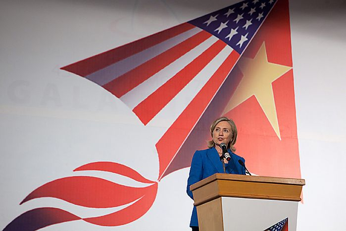 Hillary Clinton, U.S. secretary of state, speaks at a luncheon in Hanoi, Vietnam, on Thursday, July 22, 2010. The U.S. said it will intensify sanctions against North Korea for sinking a South Korean warship, targeting members of Kim Jong Il's regime and the foreign banks that help sustain the country's weapon's industy. (Photographer: Nelson Ching/Bloomberg)