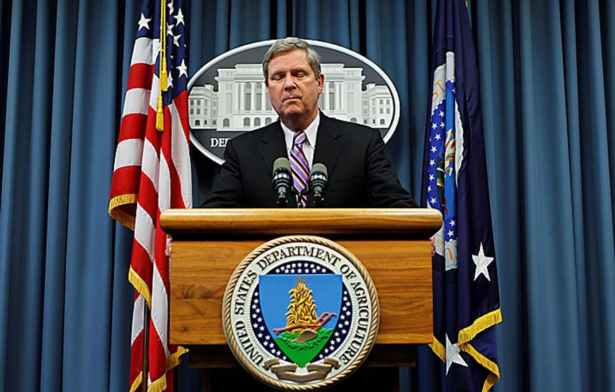 Agriculture Secretary Tom Vilsack tells reporters that he acted in haste in firing Shirley Sherrod, a black U.S. Agriculture Department official, after it appeared she had made racist remarks in unfair and heavily edited video posted on a conservative website, during a news conference at the Department of Agriculture in Washington on Wednesday, July 21, 2010. Mr. Vilsack said he is taking personal responsibility for what happened. (AP Photo/J. Scott Applewhite)