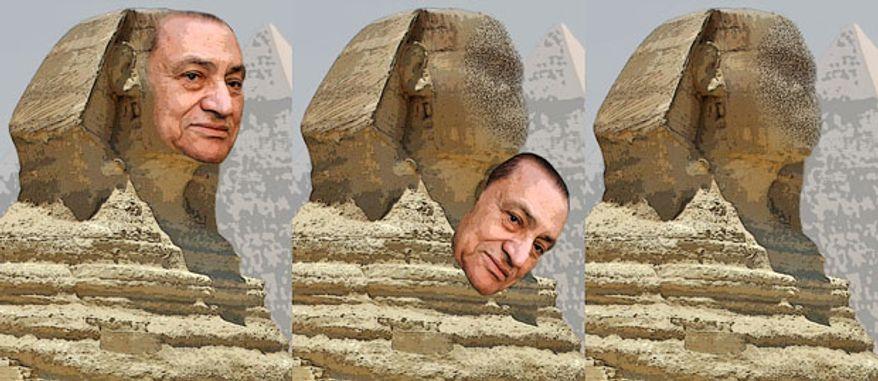 Illustration: Mubarak by Greg Groesch for The Washington Times