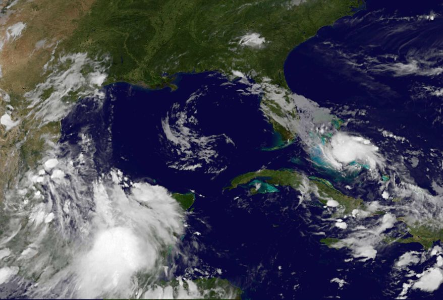 This image provided by NOAA taken late Thursday, July 22, 2010, shows Tropical Storm Bonnie as she steamed through the central Bahamas while tracking a course that could take it over the site of the Gulf of Mexico oil spill. On Friday, the center of Bonnie was expected to pass near or over the Florida Keys and part of the southern Florida peninsula. (AP photo/NOAA)