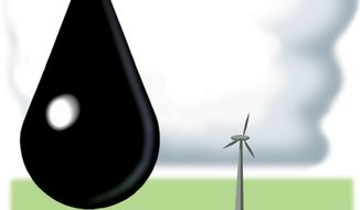 Illustration: Oil and wind power by Alexander Hunter for The Washington Times