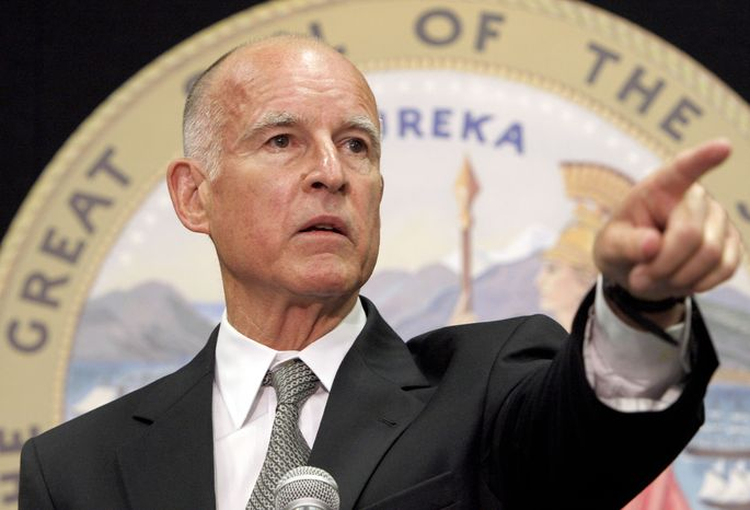 California's Attorney General Jerry Brown speaks during a press conference in Los Angeles on Monday, July 26, 2010. Mr. Brown said he has subpoenaed hundreds of records from the city of Bell, a Los Angeles suburb under investigation for sky-high salaries paid to its leaders. (AP Photo/Nick Ut)