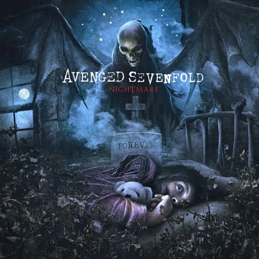 "In this CD cover image released by Warner Bros., Avenged Sevenfold's, ""Nightmare"" is shown. (AP Photo/Warner Bros.)"