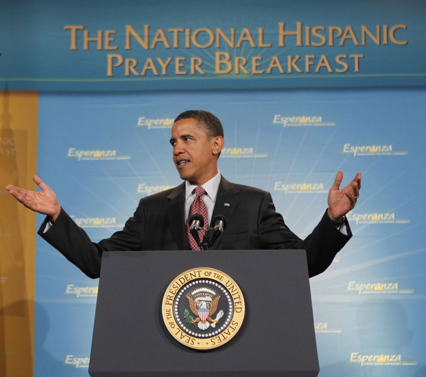 **FILE** In this photo from June 19, 2009, President Obama delivers remarks at the Esperanza National Hispanic Prayer Breakfast and Conference in Washington. Mr. Obama's once solid support among Hispanics is showing a few cracks, a troubling sign for Democrats desperate to get this critical constituency excited about helping the party hold onto Congress this fall. (Associated Press)
