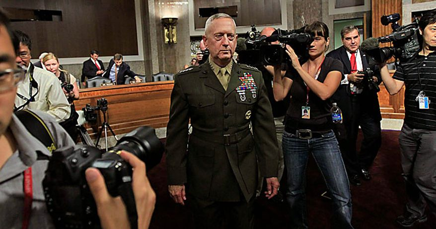 U.S. Central Command Commander-nominee Marine Corps Gen. James Mattis arrives on Capitol Hill in Washington, Tuesday, July 27, 2010, to testify before the Senate Armed Services Committee hearing on his nomination. (AP Photo/Alex Brandon)