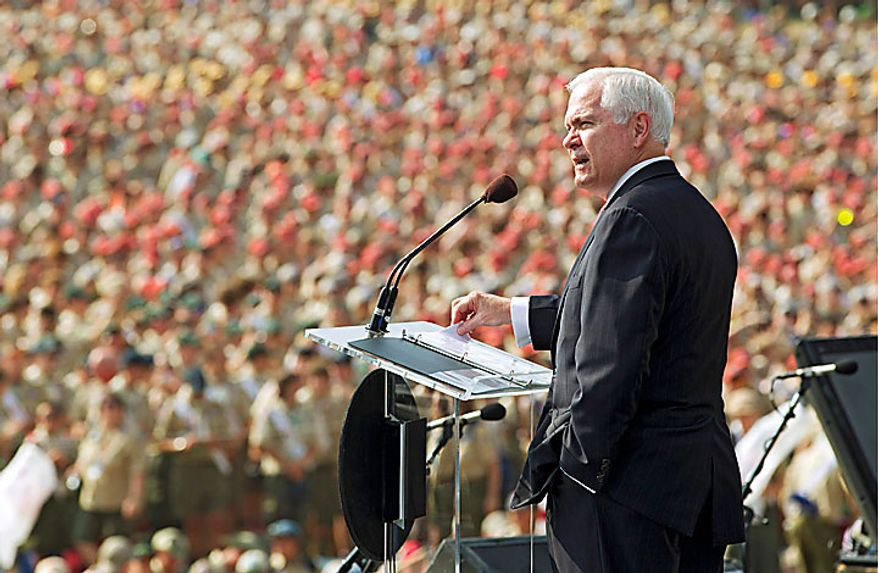 In this photo provided by the Boy Scouts of America, Defense Secretary Robert Gates speaks during the opening Arena Show at the 2010 National Scout Jamboree at Fort A.P. Hill, Va., Wednesday July 28, 2010. (AP Photo/Mark A. Duncan, Boy Scouts of America)