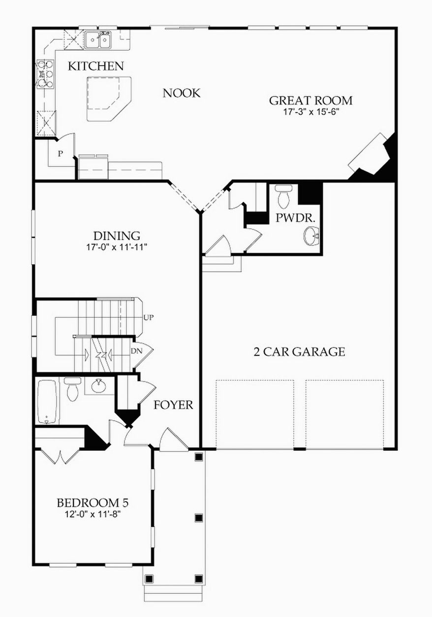The Heritage model has an open great room, breakfast area and center-island kitchen, a formal dining room, and a bedroom with a private full bath on the main level. Upstairs are four more bedrooms, three baths and a laundry area.