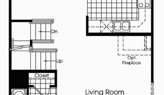 The Aurora features the living room, dining room and kitchen on the main level with a powder room. Upstairs are three bedrooms and a full bath. Buyers can add a three-level sunroom, more baths and a finished lower level.