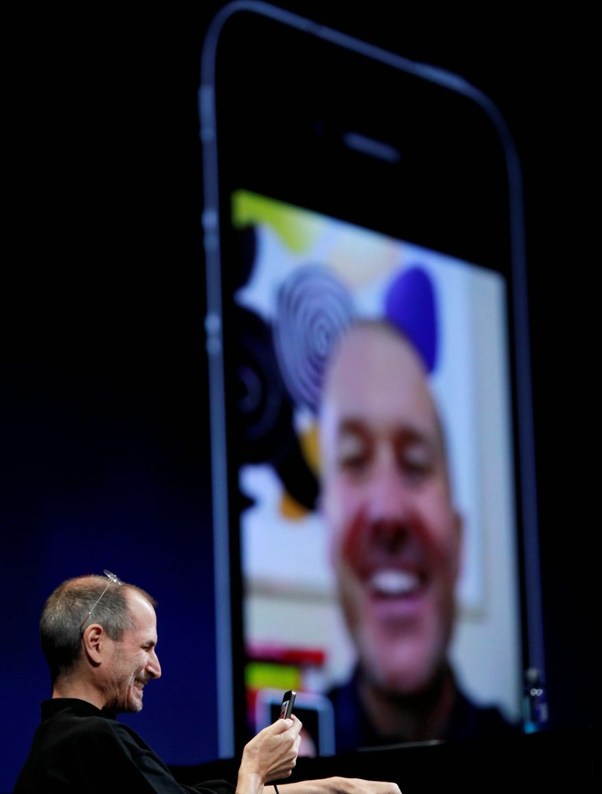 Associated Press Apple CEO Steve Jobs (left) talks to a friend using the FaceTime video chat feature on the iPhone 4 during the Apple Worldwide Developers Conference in June. Adult-entertainment companies are developing video-sex-chat services to use with FaceTime.