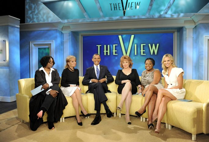 """President Obama is the featured guest on the Thursday, July 29, 2010, edition of ABC's """"The View,"""" with co-hosts (from left) Whoopi Goldberg, Barbara Walters, Joy Behar, Sherri Shepherd and Elisabeth Hasselbeck. (AP Photo/ABC, Steve Fenn)"""