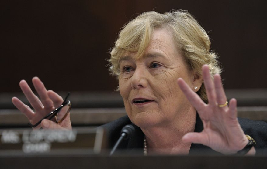 Rep. Zoe Lofgren chairs a House ethics committee hearing on Capitol Hill in Washington on Thursday, July 29, 2010, during which the panel officially lodged 13 different charges against Rep. Charles B. Rangel. (AP Photo/Susan Walsh)
