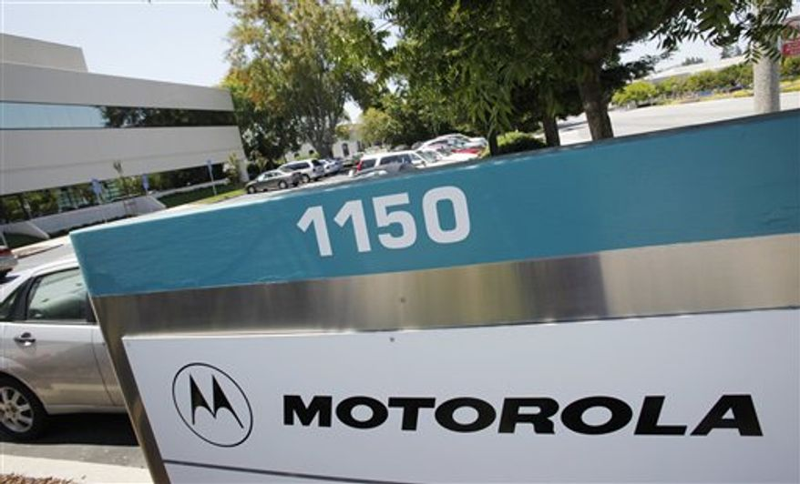 **FILE** A Motorola office address is displayed July 26, 2010, in Santa Clara, Calif. (Associated Press)