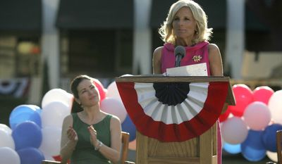 Kim Delaney, left, and second lady Jill Biden star in the fourth season of the hit drama Army Wives, airing Sunday, August 8, at 10pm ET/PT on Lifetime Television. (PRNewsFoto/Lifetime Television)