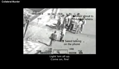 This frame grab image taken from a video shot from a U.S. army Apache helicopter gun-sight, posted at Wikileaks.org and confirmed as authentic by a senior U.S. military official, shows a group of men in the streets of the New Baghdad district of eastern Baghdad just prior to being fired upon by the helicopter July 12, 2007. In a series of online chats Bradley Manning told of leaking classified diplomatic reports, along with this secret video, to the whistleblower website Wikileaks.org. (AP Photo/Wikileaks.org)