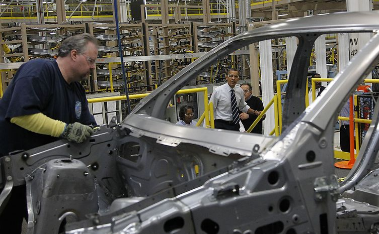President Barack Obama tours the Jefferson North Chrysler Plant in Detroit, Friday, July 30, 2010, where the Jeep Grand Cherokee is assembled. (AP Photo/Pablo Martinez Monsivais)