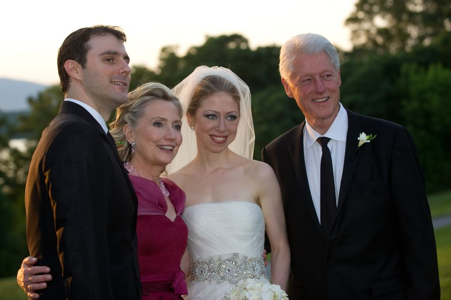 ** FILE ** Marc Mezvinsky (from left); his new mother-in-law, Hillary Rodham Clinton; his bride, Chelsea Clinton; and his new father-in-law, former President Bill Clinton, are pictured after the couple's wedding on Saturday, July 31, 2010, in Rhinebeck, N.Y. (AP Photo/Genevieve de Manio Photography, Barbara Kinney)