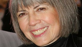 """FILE - In this April 25, 2006 file photo, writer Anne Rice arrives to the opening night of the new Broadway musical """"Lestat,"""" in New York. (AP Photo/Dima Gavrysh, file)"""