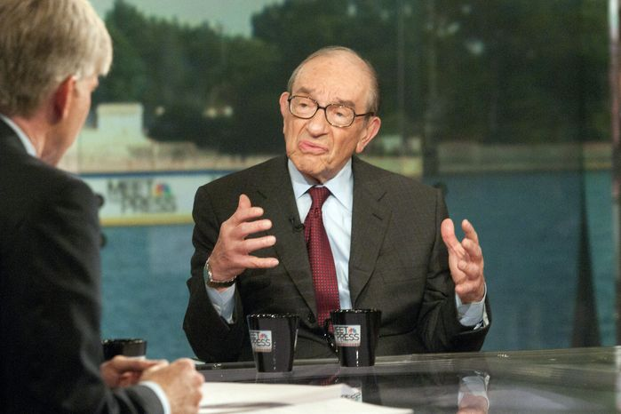 """""""Meet the Press"""" moderator David Gregory (left) interviews former Federal Reserve Chairman Alan Greenspan on Sunday, Aug. 1, 2010. Mr. Greenspan said a rising stock market will do more to stimulate the economy than any of the remedies now being discussed. (AP Photo/NBC, Stephen J. Boitano)"""