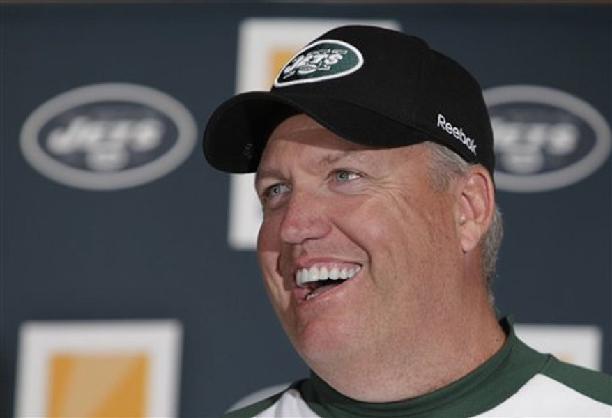 FILE - This Jan. 21, 2009, file photo shows New York Jets coach Rex Ryan during a news conference at the Jets training facility in Florham Park, N.J.  The Jets have signed coach Rex Ryan to a two-year contract extension, and signed general manager Mike Tannenbaum to a new five-year deal _ keeping both with the franchise through the 2014 season. (AP Photo/Mike Derer, File)