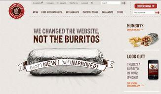 Screen capture of Chipotle's Web site (Courtesy of chipotle.com)