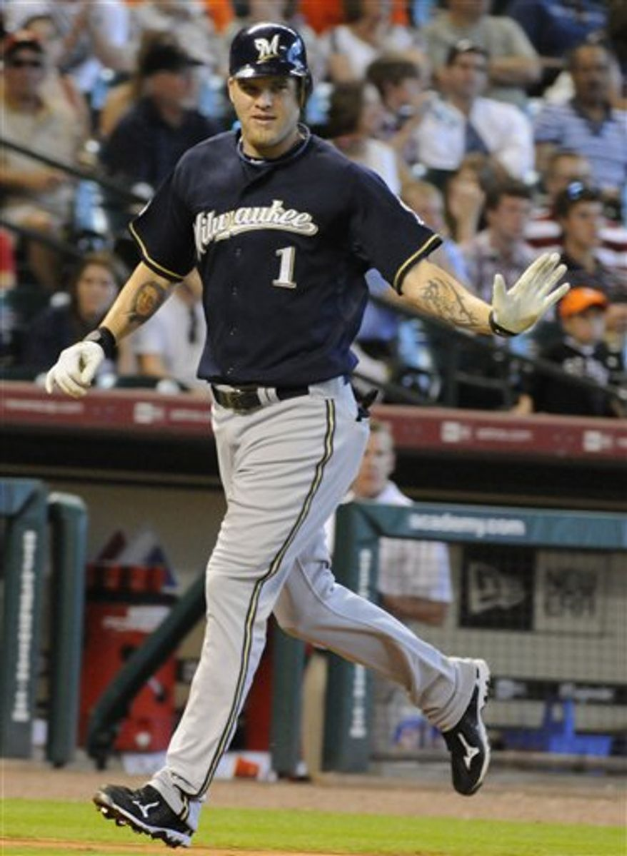 Milwaukee Brewers' Corey Hart (1) runs down the third-base line after hitting a two-run homer in the sixth inning of a baseball game against the Houston Astros on Sunday, Aug. 1, 2010, in Houston. (AP Photo/Pat Sullivan)