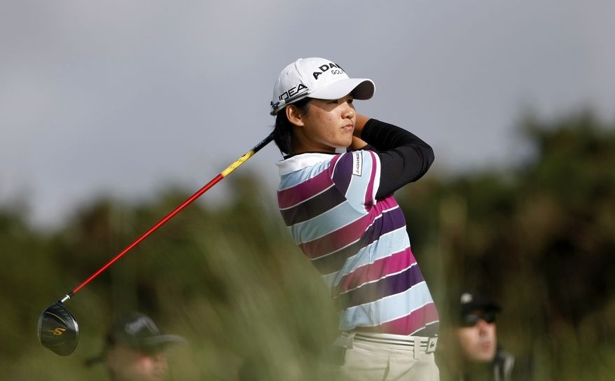 Taiwan's Yani Tseng tees off on the sixteenth hole during the final round of the Women's British Open, at Royal Birkdale Golf Club, Southport, England, Sunday, Aug. 1, 2010. (AP Photo/Tim Hales)