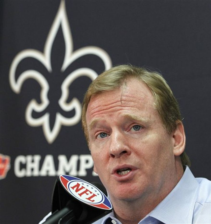 NFL football commissioner Roger Goodell  speaks at a media conference at the New Orleans Saints training facility in Metairie, La., Monday, Aug. 2, 2010. (AP Photo/Gerald Herbert)