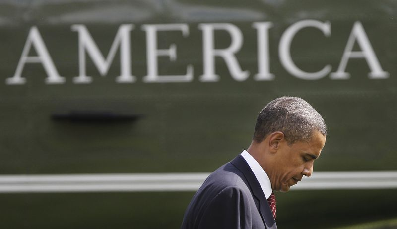 ASSOCIATED PRESS President Barack Obama walks across the South Lawn of the White House in Washington, Monday, Aug. 2, 2010, after a trip to Atlanta.
