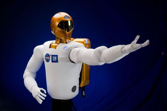 "NASA's muscular R2 astronaut ""helper"" robot has announced by Twitter that it has no gender. (NASA photo)"