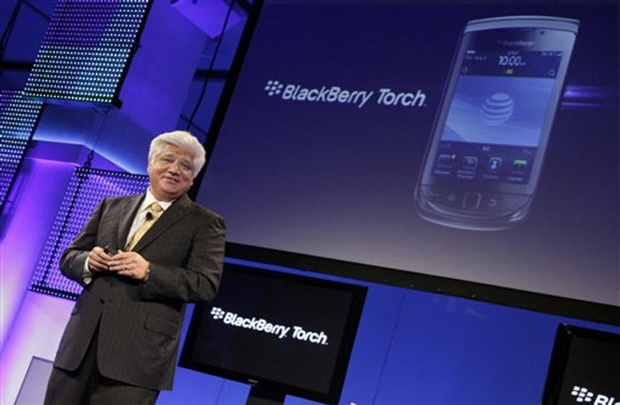 Mike Lazaridis, president and Co-Chief Executive Officer of Research In Motion, talks about his company's new BlackBerry Torch, in New York, Tuesday, Aug. 3, 2010. (AP Photo/Richard Drew)